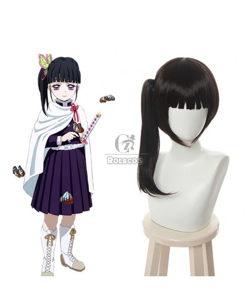 Demon Slayer Tsuyuri Kanawo Black Brown Ponytail Cosplay Wigs