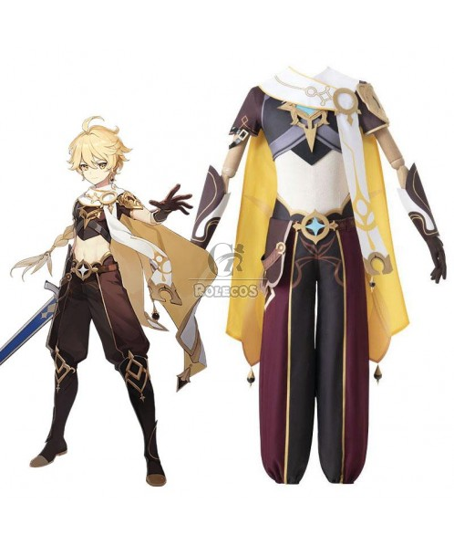 Game Genshin Impact Traveler Aether Male Cosplay Costume