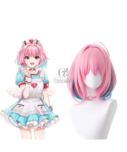 Yumemi Riamu Pink Mixed Blue Short Cosplay Wigs