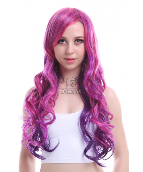 Japanese Cartoon Synthetic High Temp Fiber 70 cm long Mix color wavy cosplay party wigs