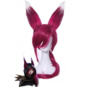 LOL Xayah Wine Red Long Straight Cosplay Wigs