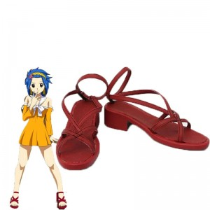 Fairy Tail Anime Levy Mcgarden Cosplay Zapatos Rojo