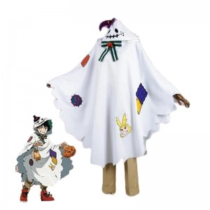 My Hero Academia Izuku Midoriya White Anime Cosplay Costumes Long Cloaks