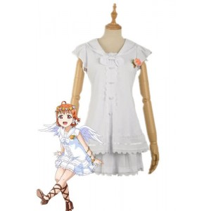 Love Live Sunshine Angel Aqours Unawaken Chika Takami White Dress Anime Cosplay Costumes