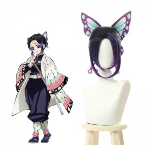 Demon Slayer Kochou Shinobu Short Purple Gradient Color Cosplay Wigs