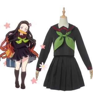 Demon Slayer Nezuko Kamado School Uniform Cosplay Costume