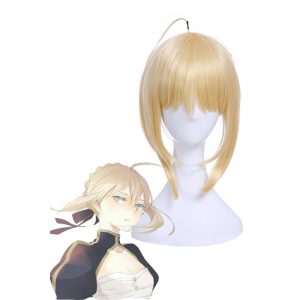 Fate Go Saber Artoria Pendragon Synthetic Short Blonde Cosplay Wigs