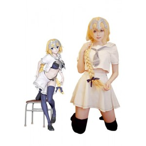Fate/Grand Order Fate Go Jeanne d'Arc White Uniform Cosplay Costumes