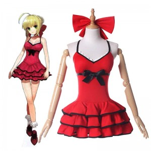 Fate Grand Order Niro Red Swimming dress Anime Cosplay Costumes