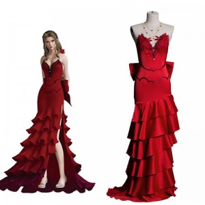 Final Fantasy VII 7 Aerith Red Dress Cosplay Costume