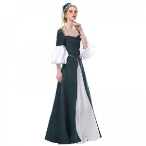 Women Renaissance Victorian Medieval Green Long Vintage Elegent Dress
