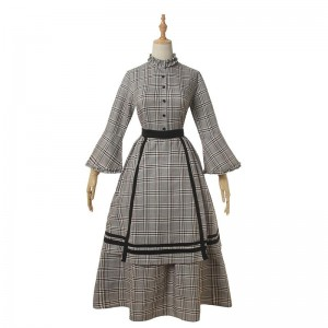 Women Renaissance Victorian Medieval Long Lattice Cotton Dress
