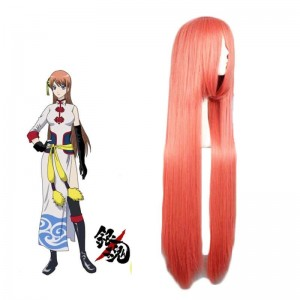 Gintama Kagura 100cm Long Orange Cosplay Wig
