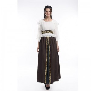 Girl Middle Sleeve Chiffon Top And Cotton Long Skirt