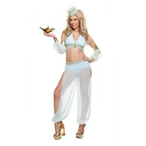 Traje de Cosplay Blanco Halloween Genie adulto