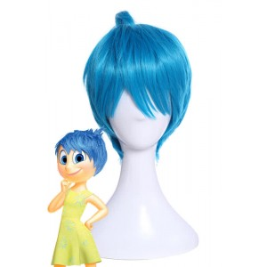 Inside Out Joy Light Blue Anime Short Cosplay Wigs