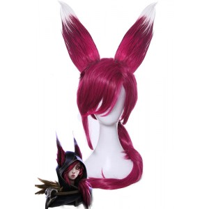 League Of Legends Xayah Wine Red Long Straight Cosplay Wigs