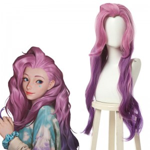 LOL KDA BADDEST Seraphine Pink Mixed Purple Long Cosplay Wigs