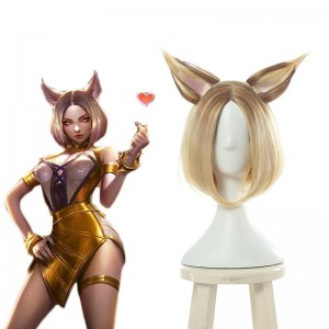 LOL KDA Nine-Tailed Fox Ahri Prestige Black Gold Gradient Cosplay Wigs