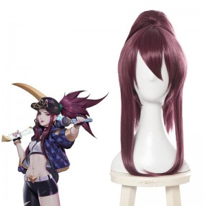 LOL KDA Skin Akali Purple Ponytail Long Cosplay Wigs