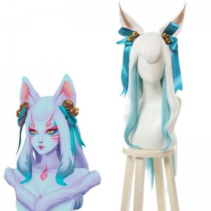 LOL Spirit Blossom Ahri White Mixed Blue Long Cosplay Wigs
