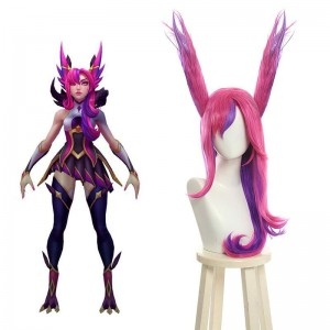 LOL Star Guardian Xayah Pink Mixed Purple Long Cosplay Wigs