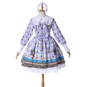 Lolita Long Sleeve Lace Dress Princess Pastoral Style Lolita Costume