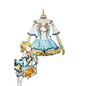 Love Live Bouquet Awaken Ayase Eli Cyan Dress Anime Cosplay Costumes