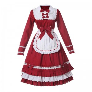 Maid Lolita Mixed Red and White Cosplay Costumes