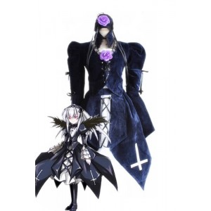 Rozen Maiden Suigintou Lolita Dark Blue Dress Cosplay Costumes