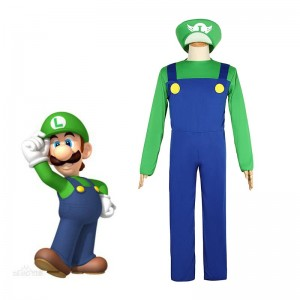 Super Mario Bros Luigi Mario Fancy Dress Party Green Plumber Costume