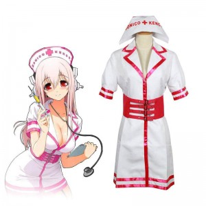Super Sonico White And Pink Nurse Uniform Cosplay Costume
