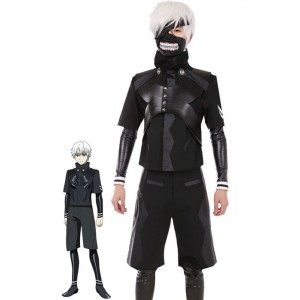 Tokyo Ghouls II Ken Kaneki Cosplay Costume Leather Suit/Hooded Coat