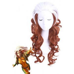 60cm blanco largo Brown mixto X-Men Rogue peluca cosplay rizado