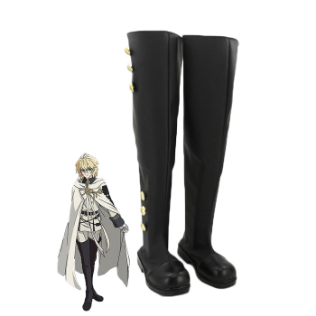 Seraph animado de los extremos Zapatos de Cosplay Mikaela Hyakuya modificado para requisitos particulares botas largas