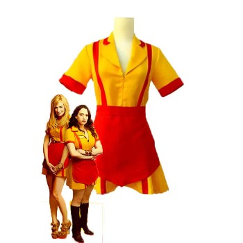 2 disfraces de Cosplay de Broke Girls Max y Caroline Yellow and Red