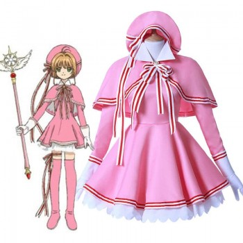 Cardcaptor Sakura Clear Card Anime Cosplay Disfraz Sakura Kinomoto Pink Dress