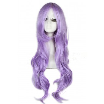 Fashion Woman Girls Purple Long Curly Wave Wigs