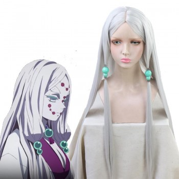 Demon Slayer Rui Spider Mother Silver Long  Cosplay Wigs Free Headdress