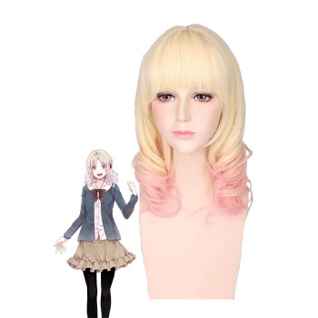 Diabolik Lovers Yui Komori Blonde Fade Pink Curly Cosplay Wigs