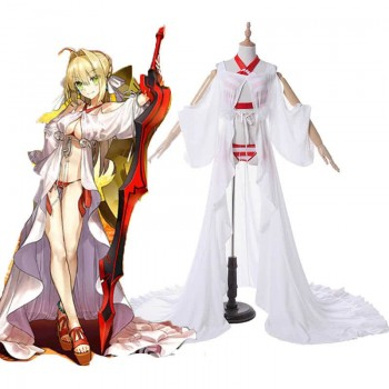 Fate Grand Order Nero White and Red Swimsuit Game Disfraces de Cosplay