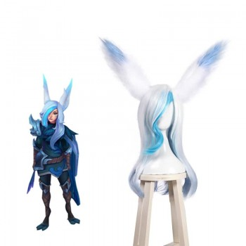 Game LOL Star Guardians Xayah Cosplay Wigs Synthetic Long Grey Mixed Blue Curly Women Hair Wigs Cosplay Wigs