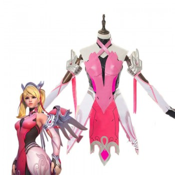 Game OW Pink Angel Battle Suit Cosplay Costume