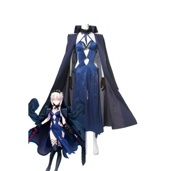 Fate Grand Order Black Saber Black Blue Trajes de Cosplay Anime Mixto