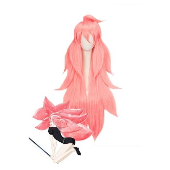 Land of the Lustrous Houseki no Kuni Morganite Long Pink pelucas sintéticas de Cosplay del Anime