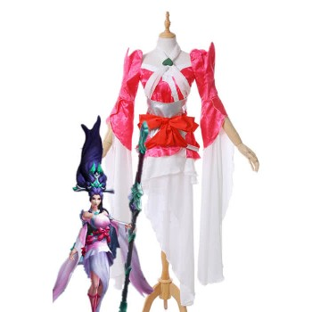LOL Sacred Sword Janna Rose Red Game Cosplay Costumes