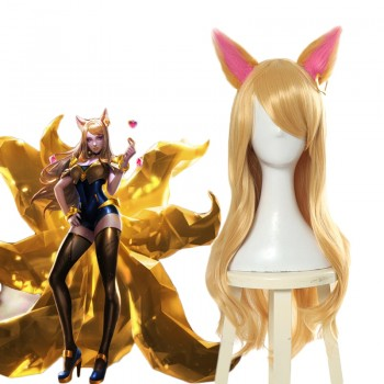 LOL KDA Skin Nine-Tailed Fox Ahri Long Cosplay Wigs