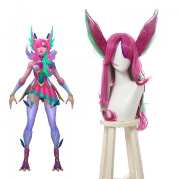 LOL Star Guardian Xayah Pink Mixed Green Long Cosplay Wigs