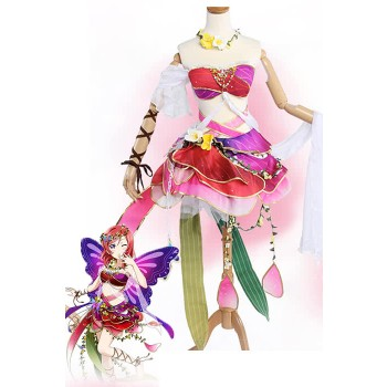 Love Live! Flower Fairy Awaken Maki Nishikino Pink Anime Cosplay Dress