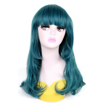 50 cm de largo Teal Green Wave animado cosplay peluca